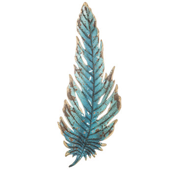 Turquoise Feather Metal Wall Decor